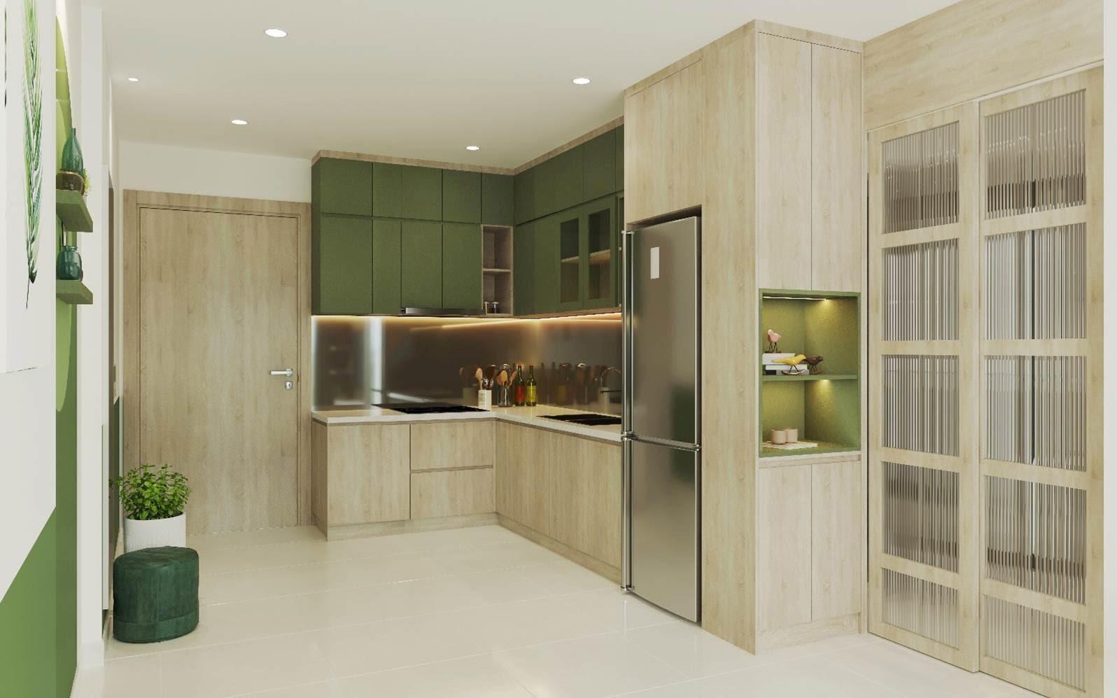 Sử dụng màu sắc nổi bật tạo điểm nhấn cho không gian bếp