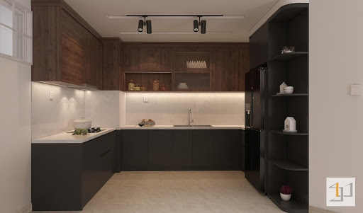 Thiết kế tủ bếp chữ U cho không gian rộng