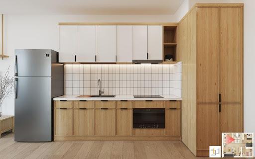 Tủ bếp gỗ công nghiệp với chất lượng và tính thẩm mỹ cao do S-housing thiết kế