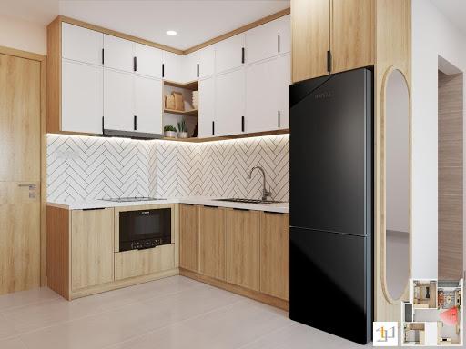 Màu sắc tủ bếp hài hòa với bối cảnh chung